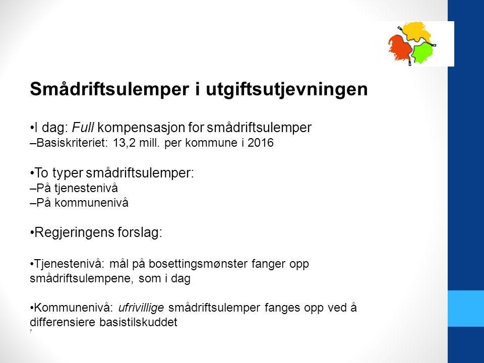 Smådriftsulemper i utgiftsutjevningen I dag: Full kompensasjon for smådriftsulemper –Basiskriteriet: 13,2 mill.