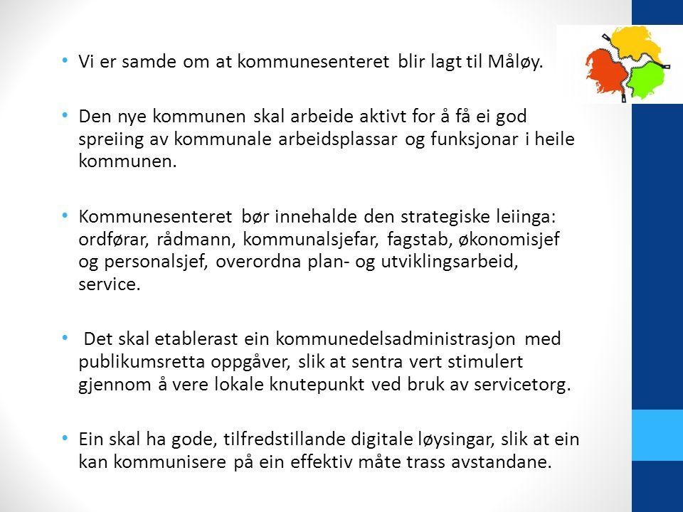Vi er samde om at kommunesenteret blir lagt til Måløy.