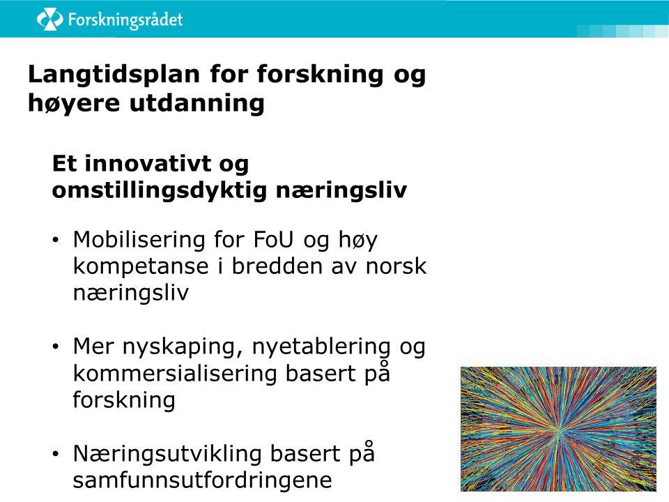 Et innovativt og omstillingsdyktig næringsliv Mobilisering for FoU og høy kompetanse i bredden av norsk næringsliv Mer nyskaping, nyetablering og kommersialisering basert på forskning Næringsutvikling basert på samfunnsutfordringene
