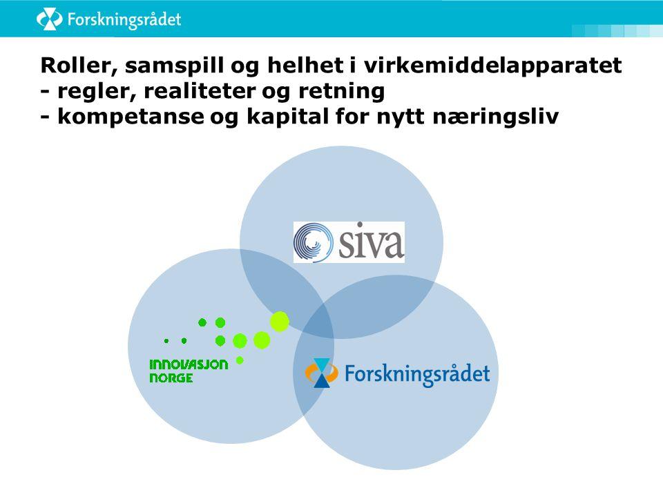 Roller, samspill og helhet i virkemiddelapparatet - regler, realiteter og retning - kompetanse og kapital for nytt næringsliv