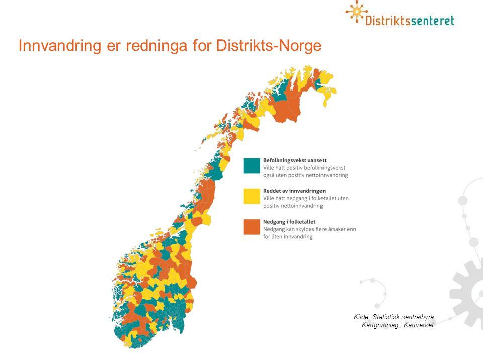 Innvandring er redninga for Distrikts-Norge Kilde: Statistisk sentralbyrå Kartgrunnlag: Kartverket