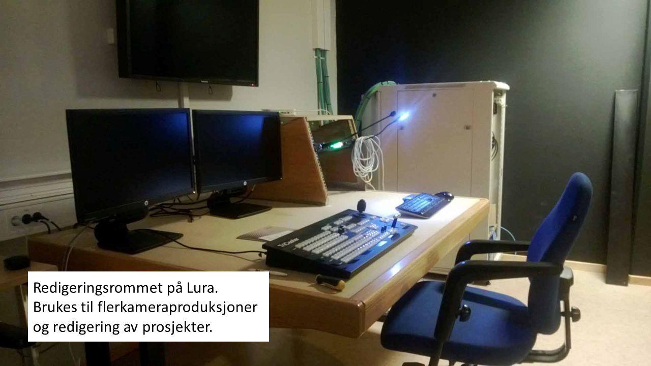 Redigeringsrommet på Lura. Brukes til flerkameraproduksjoner og redigering av prosjekter.