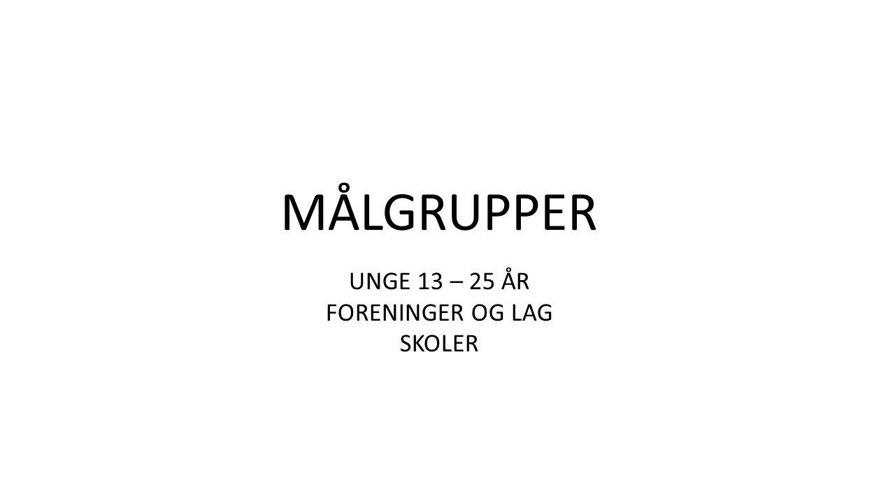 MÅLGRUPPER UNGE 13 – 25 ÅR FORENINGER OG LAG SKOLER