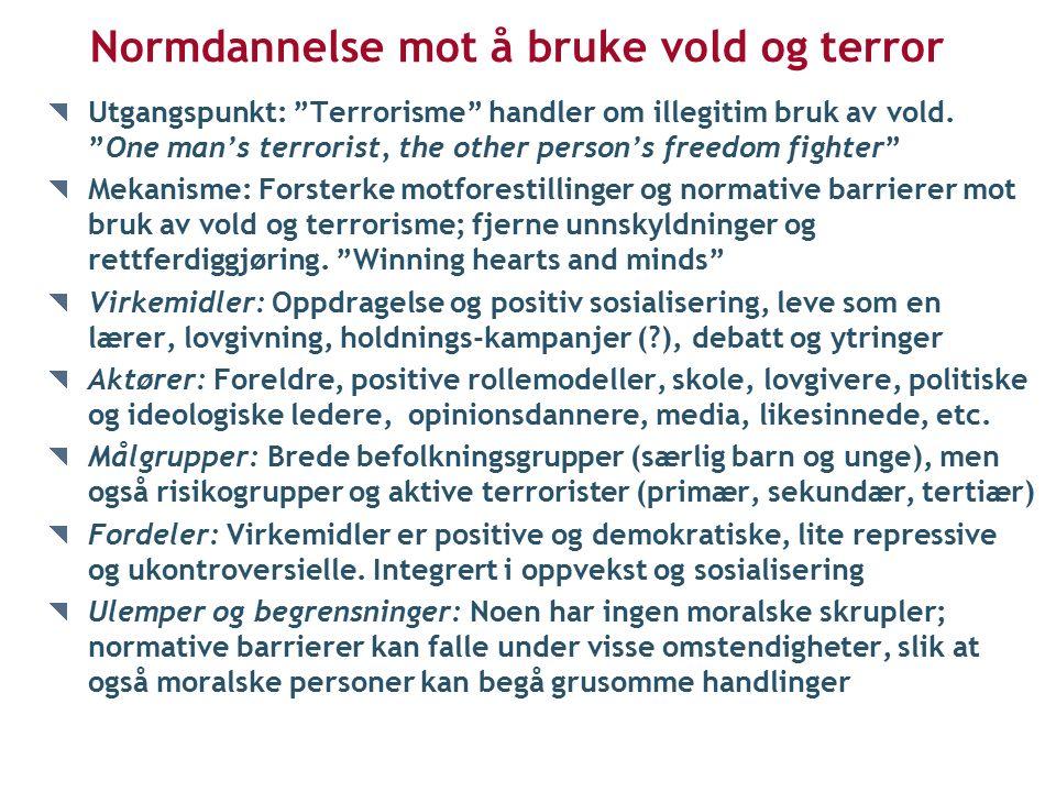 Normdannelse mot å bruke vold og terror Utgangspunkt: Terrorisme handler om illegitim bruk av vold.