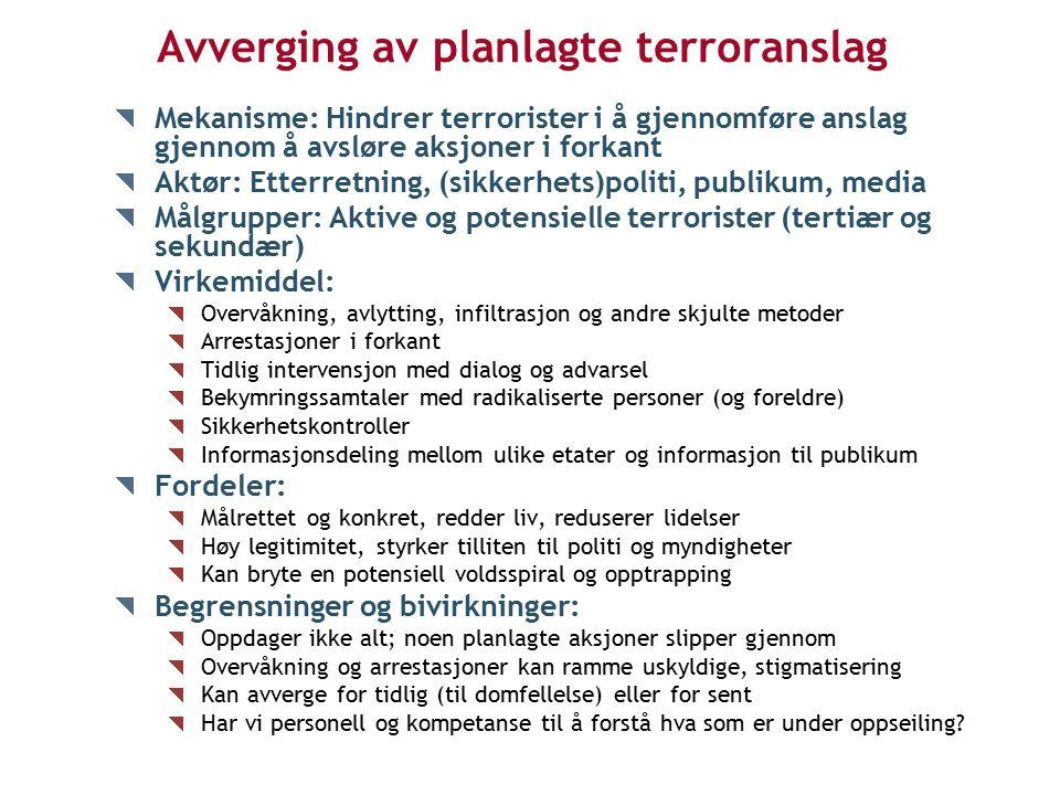 Avverging av planlagte terroranslag Mekanisme: Hindrer terrorister i å gjennomføre anslag gjennom å avsløre aksjoner i forkant Aktør: Etterretning, (sikkerhets)politi, publikum, media Målgrupper: Aktive og potensielle terrorister (tertiær og sekundær) Virkemiddel: Overvåkning, avlytting, infiltrasjon og andre skjulte metoder Arrestasjoner i forkant Tidlig intervensjon med dialog og advarsel Bekymringssamtaler med radikaliserte personer (og foreldre) Sikkerhetskontroller Informasjonsdeling mellom ulike etater og informasjon til publikum Fordeler: Målrettet og konkret, redder liv, reduserer lidelser Høy legitimitet, styrker tilliten til politi og myndigheter Kan bryte en potensiell voldsspiral og opptrapping Begrensninger og bivirkninger: Oppdager ikke alt; noen planlagte aksjoner slipper gjennom Overvåkning og arrestasjoner kan ramme uskyldige, stigmatisering Kan avverge for tidlig (til domfellelse) eller for sent Har vi personell og kompetanse til å forstå hva som er under oppseiling