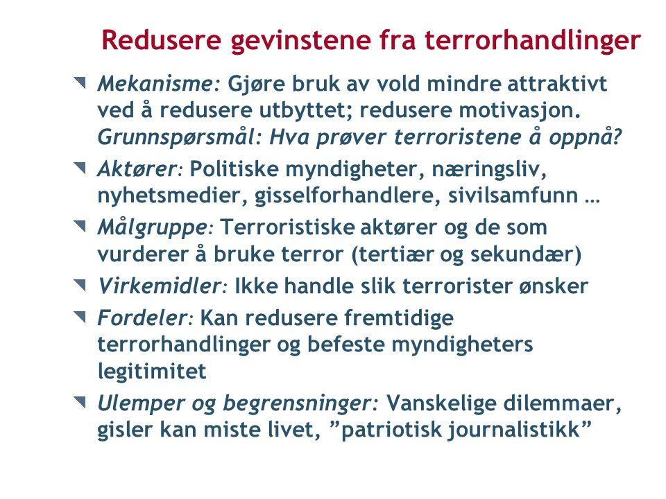 Redusere gevinstene fra terrorhandlinger Mekanisme: Gjøre bruk av vold mindre attraktivt ved å redusere utbyttet; redusere motivasjon.