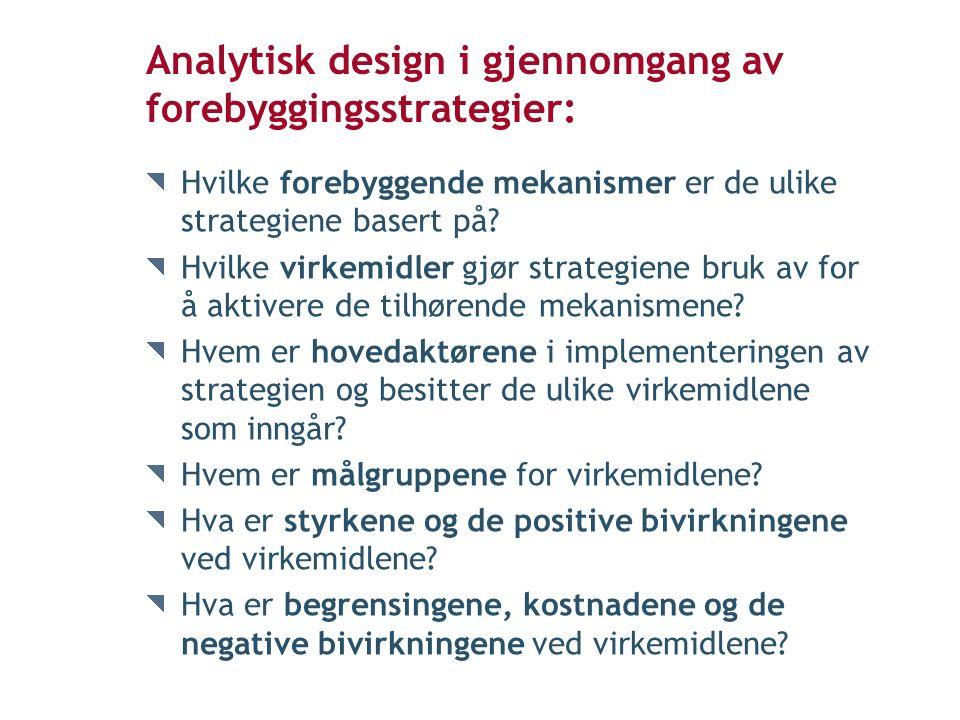 Analytisk design i gjennomgang av forebyggingsstrategier: Hvilke forebyggende mekanismer er de ulike strategiene basert på.