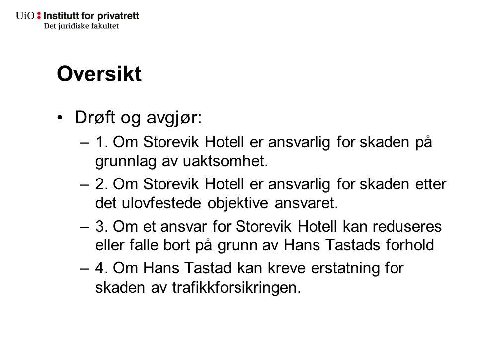 1.Om Storevik Hotell er ansvarlig for skaden på grunnlag av uaktsomhet.