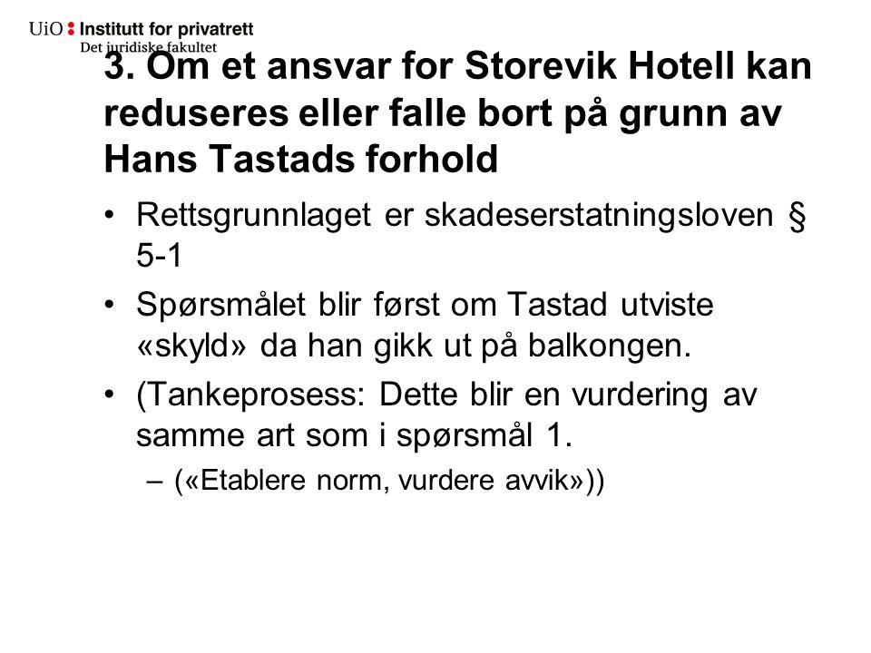 3. Om et ansvar for Storevik Hotell kan reduseres eller falle bort på grunn av Hans Tastads forhold Rettsgrunnlaget er skadeserstatningsloven § 5-1 Sp