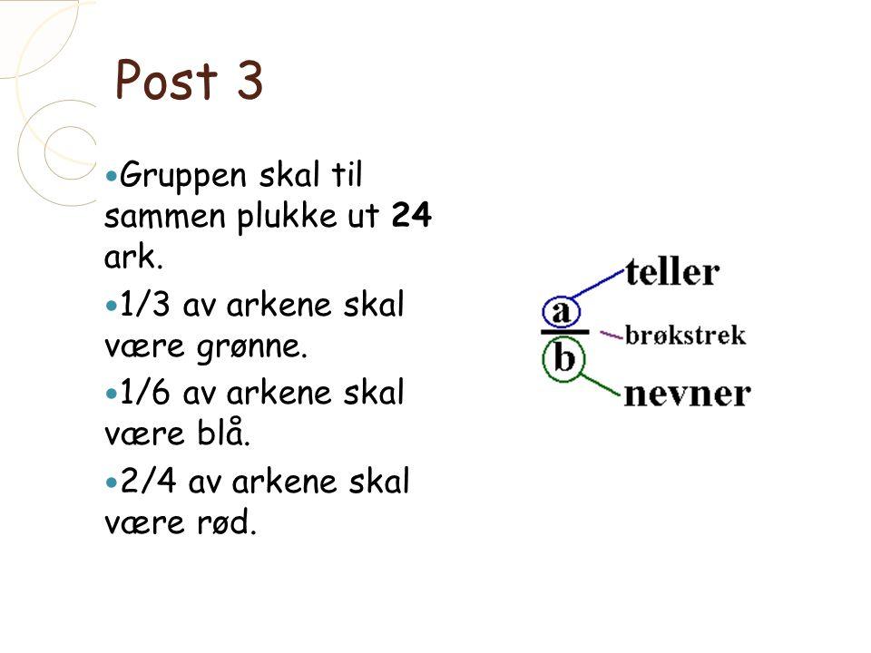 Post 3 Gruppen skal til sammen plukke ut 24 ark. 1/3 av arkene skal være grønne.