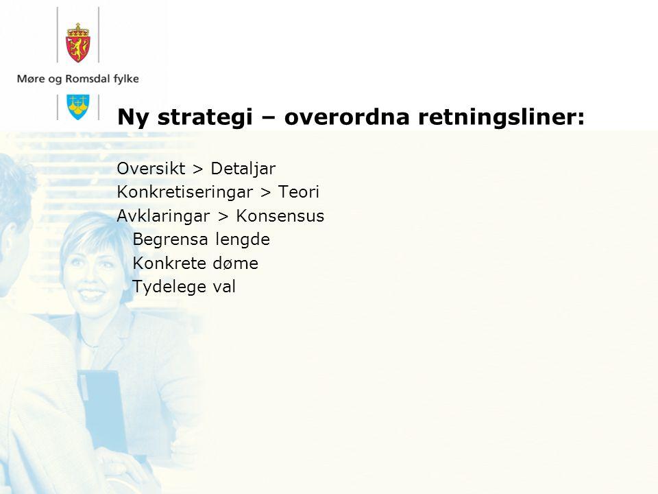 Ny strategi – overordna retningsliner: Oversikt > Detaljar Konkretiseringar > Teori Avklaringar > Konsensus Begrensa lengde Konkrete døme Tydelege val