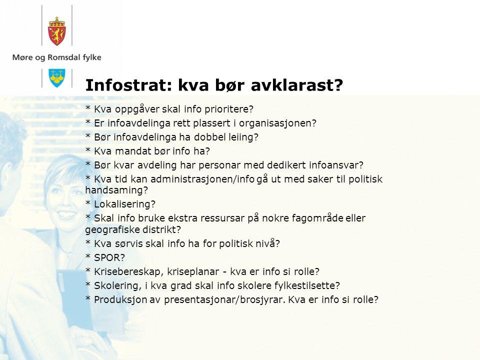 Infostrat: kva bør avklarast. * Kva oppgåver skal info prioritere.