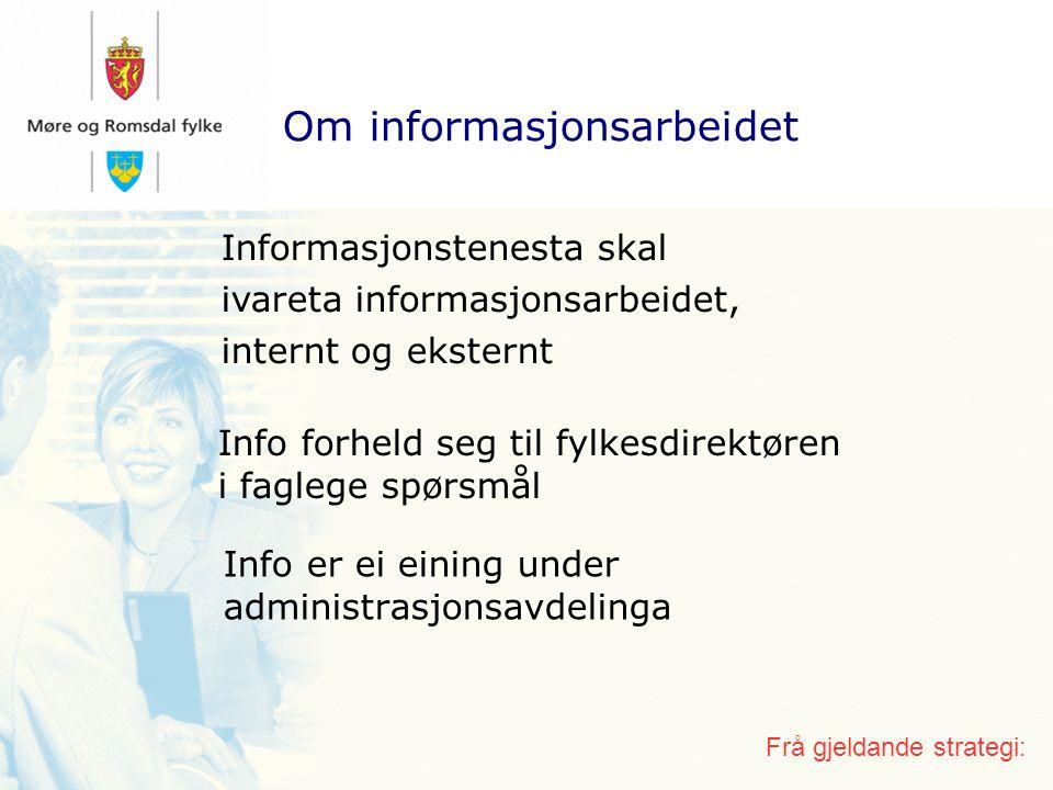 Prosessen Fire prosjekt: 1) Ny infostrategi (overordna prosjekt) 2) Nye nettenester a) Nytt internett b) Nytt intranett 3) Ny grafisk profil