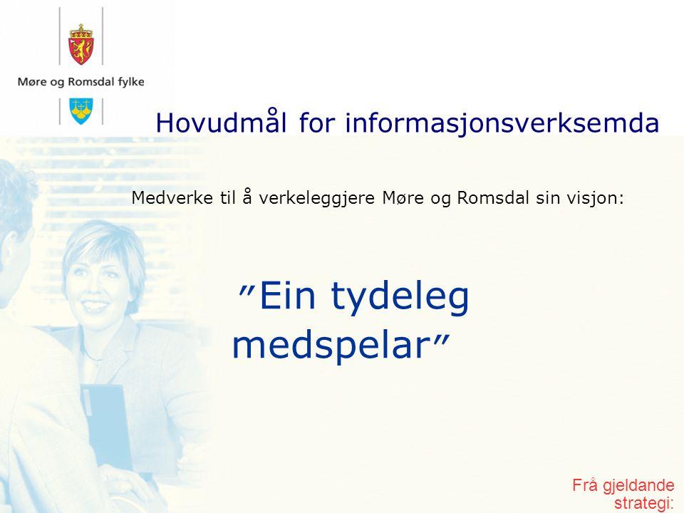 Hovudmål for informasjonsverksemda Ein tydeleg medspelar Medverke til å verkeleggjere Møre og Romsdal sin visjon: Frå gjeldande strategi: