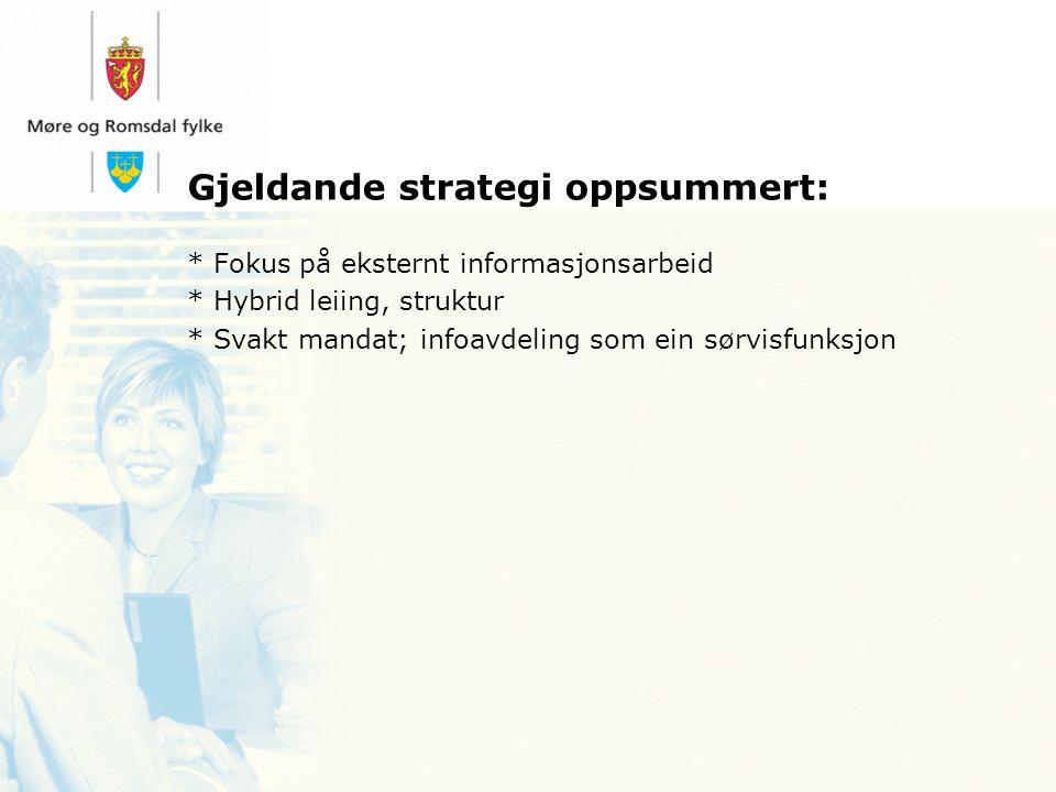 Gjeldande strategi oppsummert: * Fokus på eksternt informasjonsarbeid * Hybrid leiing, struktur * Svakt mandat; infoavdeling som ein sørvisfunksjon