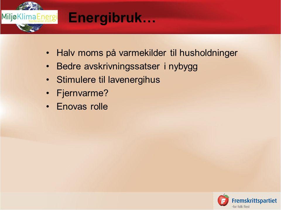 Energibruk… Halv moms på varmekilder til husholdninger Bedre avskrivningssatser i nybygg Stimulere til lavenergihus Fjernvarme.
