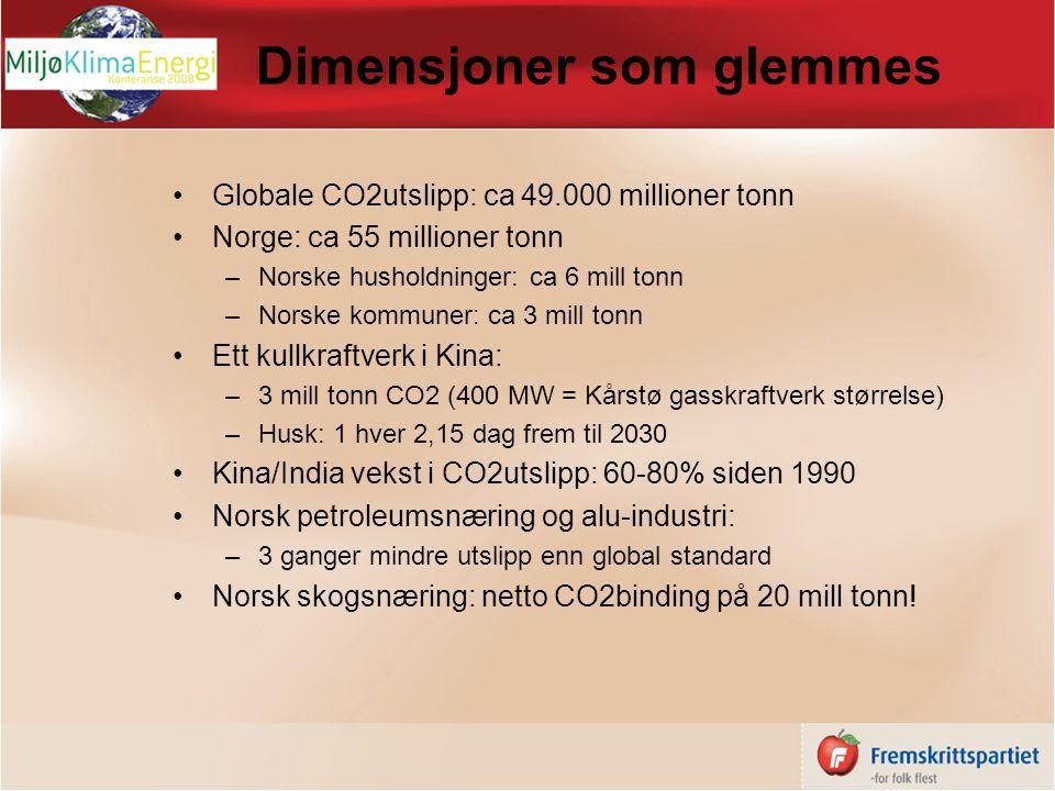 Dimensjoner som glemmes Globale CO2utslipp: ca 49.000 millioner tonn Norge: ca 55 millioner tonn –Norske husholdninger: ca 6 mill tonn –Norske kommuner: ca 3 mill tonn Ett kullkraftverk i Kina: –3 mill tonn CO2 (400 MW = Kårstø gasskraftverk størrelse) –Husk: 1 hver 2,15 dag frem til 2030 Kina/India vekst i CO2utslipp: 60-80% siden 1990 Norsk petroleumsnæring og alu-industri: –3 ganger mindre utslipp enn global standard Norsk skogsnæring: netto CO2binding på 20 mill tonn!