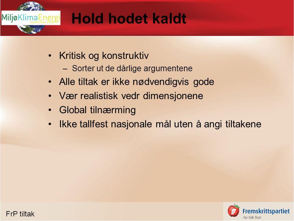 Norges Kyotoforpliktelser Norge ratifiserte i 2002 Gjelder for 2008-2012 Norges forpliktelser: øke utslipp med max 1 % i forhold til 1990 nivå CO2 mål: 50,3 mill tonn i snitt 2008-2012, –Prognose: 55-60 mill tonn (avhengig av gasskraft) –Overoppfylle med 10% (mål: max ca 45 mill tonn årlig) Kan innfri Kyoto gjennom –Nasjonale tiltak –Handel med klimakvoter –Tiltak i land utenfor klimakvoteregimet Kyoto