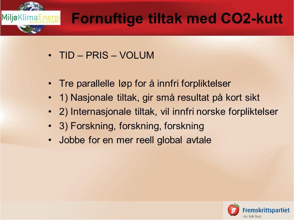 Fornuftige tiltak med CO2-kutt TID – PRIS – VOLUM Tre parallelle løp for å innfri forpliktelser 1) Nasjonale tiltak, gir små resultat på kort sikt 2) Internasjonale tiltak, vil innfri norske forpliktelser 3) Forskning, forskning, forskning Jobbe for en mer reell global avtale