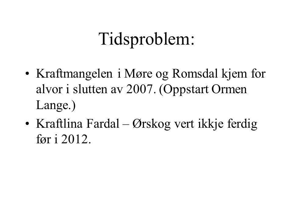 Tidsproblem: Kraftmangelen i Møre og Romsdal kjem for alvor i slutten av 2007. (Oppstart Ormen Lange.) Kraftlina Fardal – Ørskog vert ikkje ferdig før