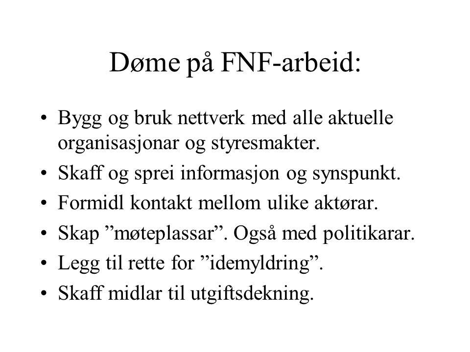 Døme på FNF-arbeid: Bygg og bruk nettverk med alle aktuelle organisasjonar og styresmakter. Skaff og sprei informasjon og synspunkt. Formidl kontakt m