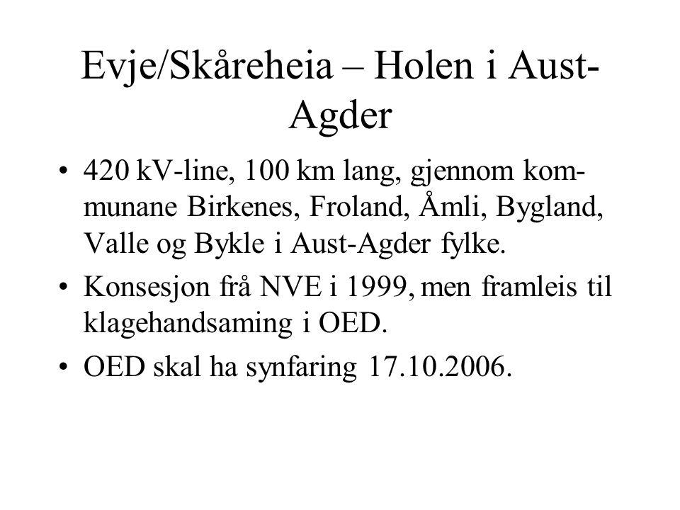 Evje/Skåreheia – Holen i Aust- Agder 420 kV-line, 100 km lang, gjennom kom- munane Birkenes, Froland, Åmli, Bygland, Valle og Bykle i Aust-Agder fylke