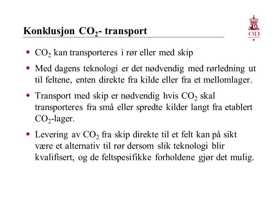 Konklusjon CO 2 - transport  CO 2 kan transporteres i rør eller med skip  Med dagens teknologi er det nødvendig med rørledning ut til feltene, enten direkte fra kilde eller fra et mellomlager.