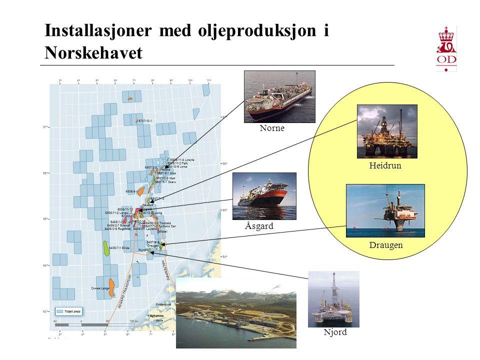 Installasjoner med oljeproduksjon i Norskehavet Heidrun Draugen Njord Åsgard Norne