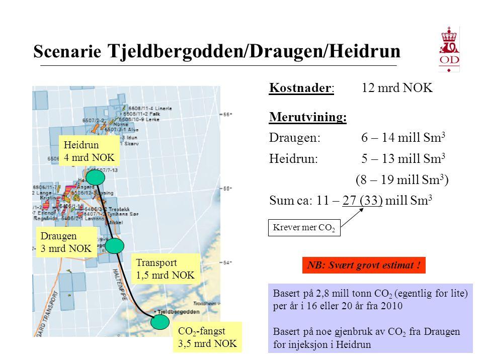 Scenarie Tjeldbergodden/Draugen/Heidrun Kostnader:12 mrd NOK Merutvining: Draugen:6 – 14 mill Sm 3 Heidrun:5 – 13 mill Sm 3 (8 – 19 mill Sm 3 ) Sum ca: 11 – 27 (33) mill Sm 3 CO 2 -fangst 3,5 mrd NOK Draugen 3 mrd NOK Heidrun 4 mrd NOK Transport 1,5 mrd NOK Basert på 2,8 mill tonn CO 2 (egentlig for lite) per år i 16 eller 20 år fra 2010 Basert på noe gjenbruk av CO 2 fra Draugen for injeksjon i Heidrun NB: Svært grovt estimat .