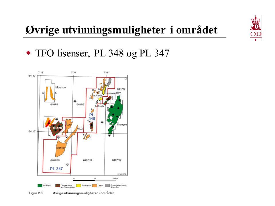 Øvrige utvinningsmuligheter i området  TFO lisenser, PL 348 og PL 347