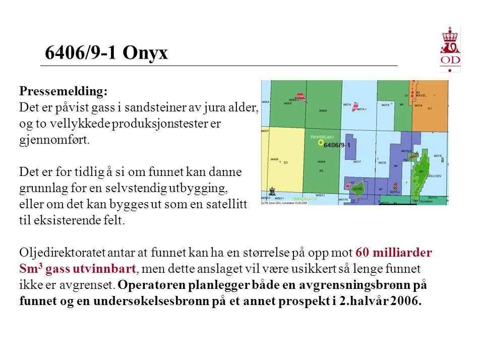 6406/9-1 Onyx Pressemelding: Det er påvist gass i sandsteiner av jura alder, og to vellykkede produksjonstester er gjennomført.