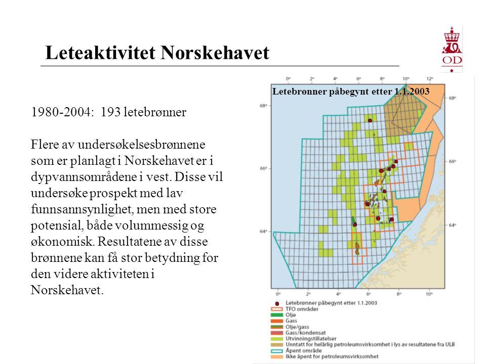 Leteaktivitet Norskehavet 1980-2004: 193 letebrønner Flere av undersøkelsesbrønnene som er planlagt i Norskehavet er i dypvannsområdene i vest.