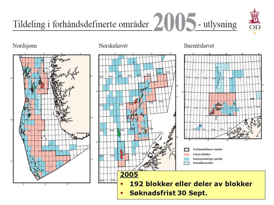 2005  192 blokker eller deler av blokker  Søknadsfrist 30 Sept.