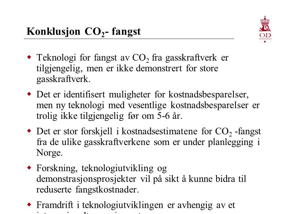 Konklusjon CO 2 - fangst  Teknologi for fangst av CO 2 fra gasskraftverk er tilgjengelig, men er ikke demonstrert for store gasskraftverk.