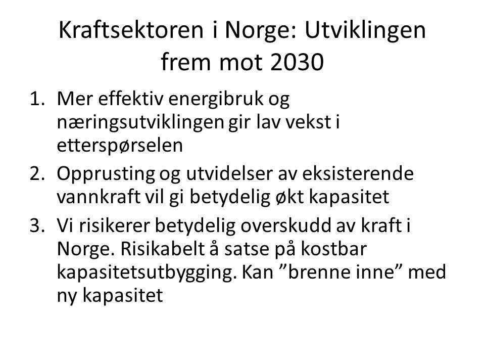 Kraftsektoren i Norge: Utviklingen frem mot 2030 1.Mer effektiv energibruk og næringsutviklingen gir lav vekst i etterspørselen 2.Opprusting og utvide