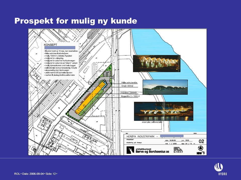 ROL Dato: 2006-09-04 Side: 12 Prospekt for mulig ny kunde
