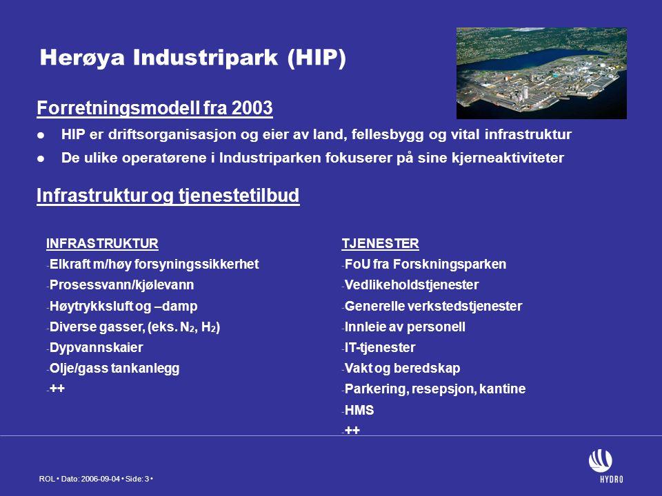 ROL Dato: 2006-09-04 Side: 3 Herøya Industripark (HIP) Forretningsmodell fra 2003 HIP er driftsorganisasjon og eier av land, fellesbygg og vital infrastruktur De ulike operatørene i Industriparken fokuserer på sine kjerneaktiviteter Infrastruktur og tjenestetilbud INFRASTRUKTUR - Elkraft m/høy forsyningssikkerhet - Prosessvann/kjølevann - Høytrykksluft og –damp - Diverse gasser, (eks.
