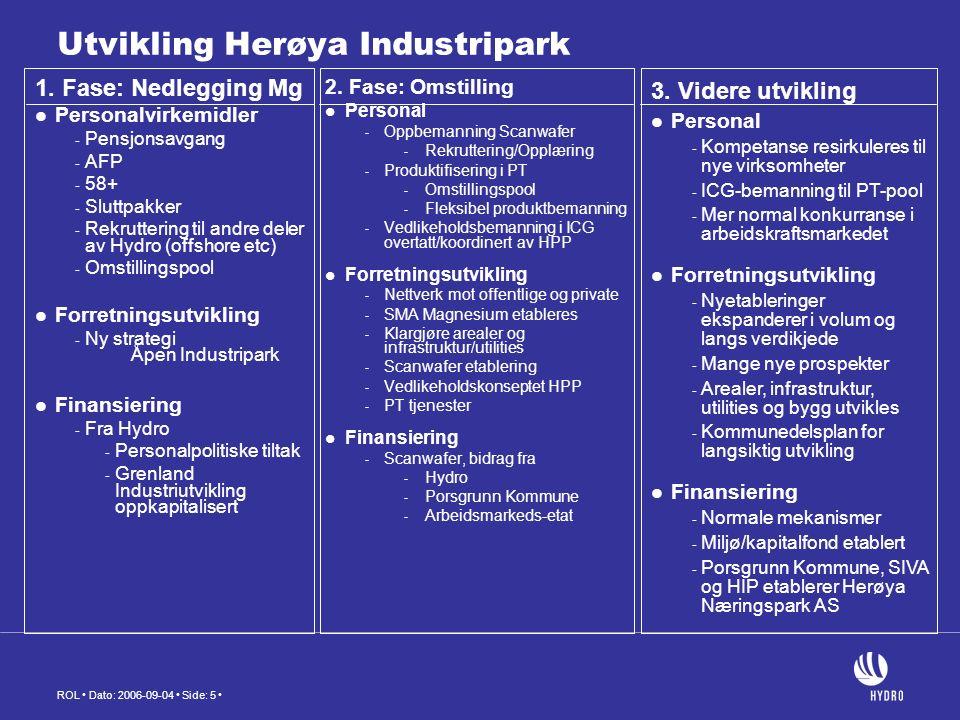 ROL Dato: 2006-09-04 Side: 5 Utvikling Herøya Industripark 1.
