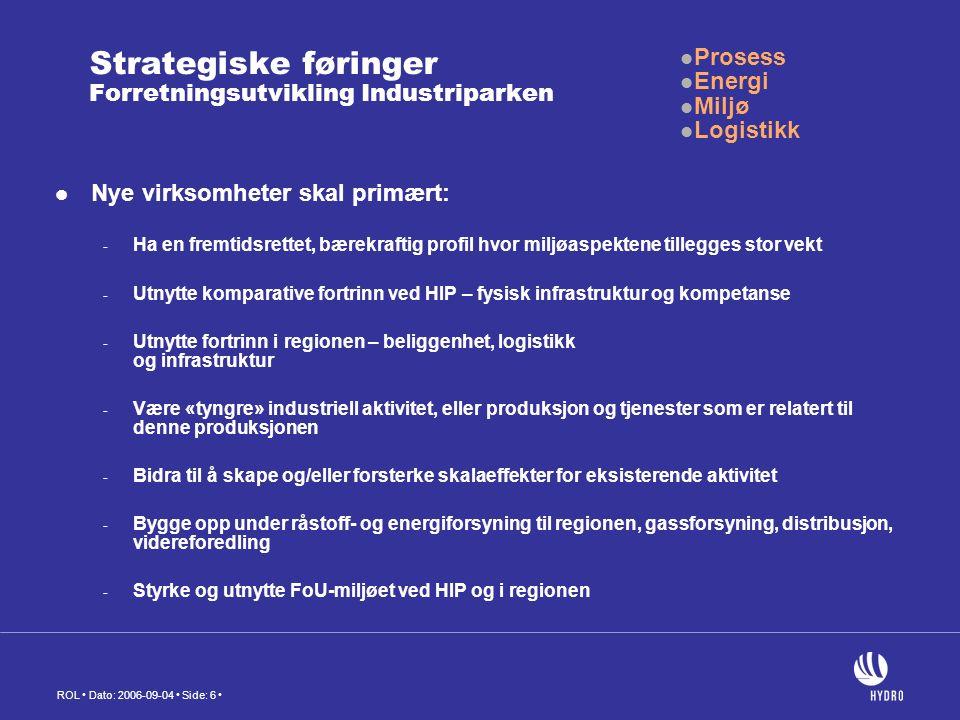 ROL Dato: 2006-09-04 Side: 6 Strategiske føringer Forretningsutvikling Industriparken Nye virksomheter skal primært: - Ha en fremtidsrettet, bærekraftig profil hvor miljøaspektene tillegges stor vekt - Utnytte komparative fortrinn ved HIP – fysisk infrastruktur og kompetanse - Utnytte fortrinn i regionen – beliggenhet, logistikk og infrastruktur - Være «tyngre» industriell aktivitet, eller produksjon og tjenester som er relatert til denne produksjonen - Bidra til å skape og/eller forsterke skalaeffekter for eksisterende aktivitet - Bygge opp under råstoff- og energiforsyning til regionen, gassforsyning, distribusjon, videreforedling - Styrke og utnytte FoU-miljøet ved HIP og i regionen Prosess Energi Miljø Logistikk