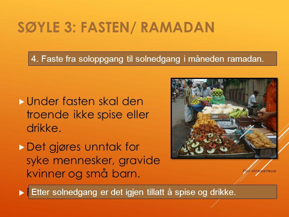 SØYLE 3: FASTEN/ RAMADAN  Under fasten skal den troende ikke spise eller drikke.