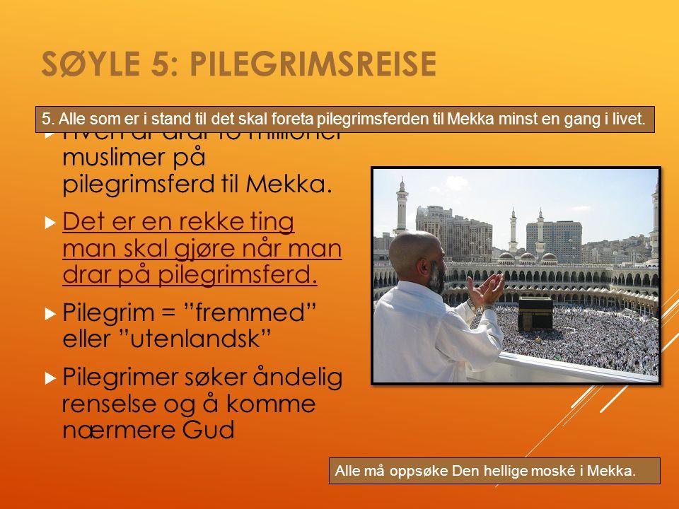SØYLE 5: PILEGRIMSREISE  Hvert år drar to millioner muslimer på pilegrimsferd til Mekka.