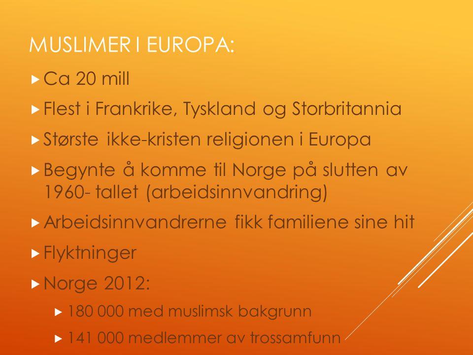 MUSLIMER I EUROPA:  Ca 20 mill  Flest i Frankrike, Tyskland og Storbritannia  Største ikke-kristen religionen i Europa  Begynte å komme til Norge på slutten av 1960- tallet (arbeidsinnvandring)  Arbeidsinnvandrerne fikk familiene sine hit  Flyktninger  Norge 2012:  180 000 med muslimsk bakgrunn  141 000 medlemmer av trossamfunn
