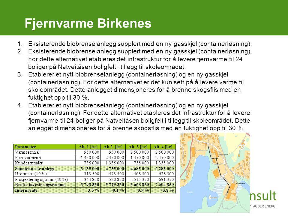Fjernvarme Birkenes 1.Eksisterende biobrenselanlegg supplert med en ny gasskjel (containerløsning). 2.Eksisterende biobrenselanlegg supplert med en ny