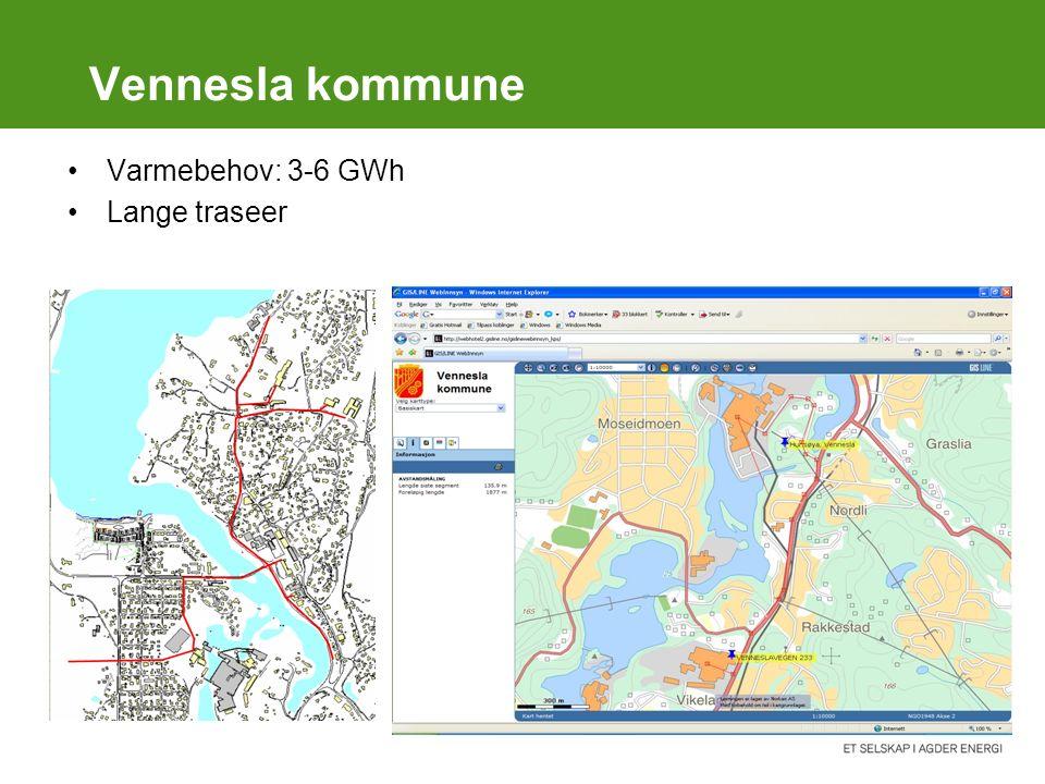 Vennesla kommune Varmebehov: 3-6 GWh Lange traseer