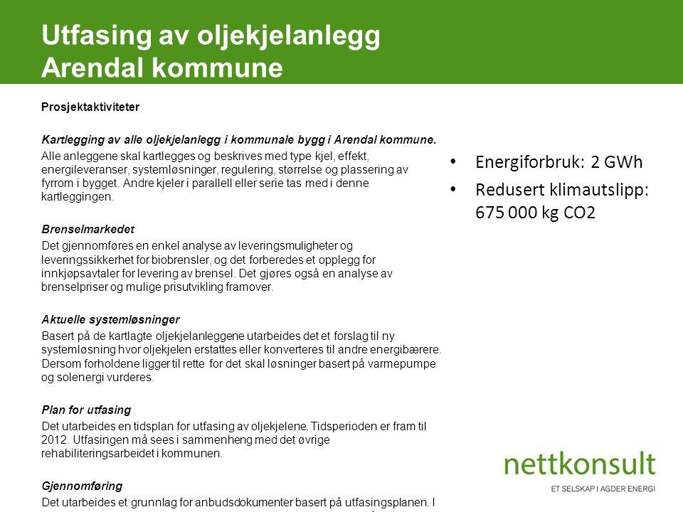 Utfasing av oljekjelanlegg Arendal kommune Prosjektaktiviteter Kartlegging av alle oljekjelanlegg i kommunale bygg i Arendal kommune. Alle anleggene s