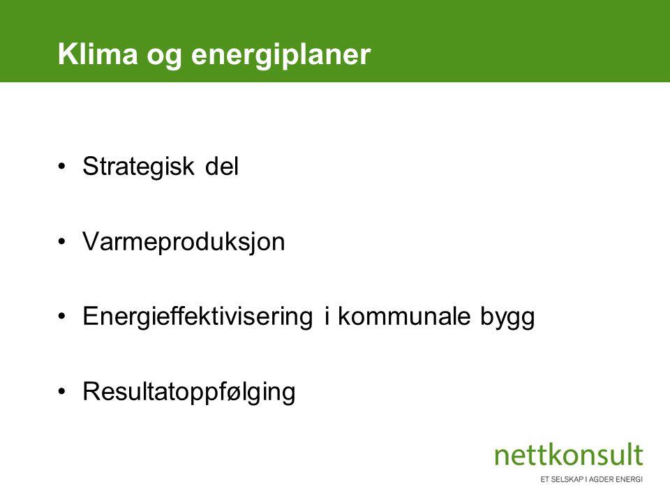 Klima og energiplaner Strategisk del Varmeproduksjon Energieffektivisering i kommunale bygg Resultatoppfølging
