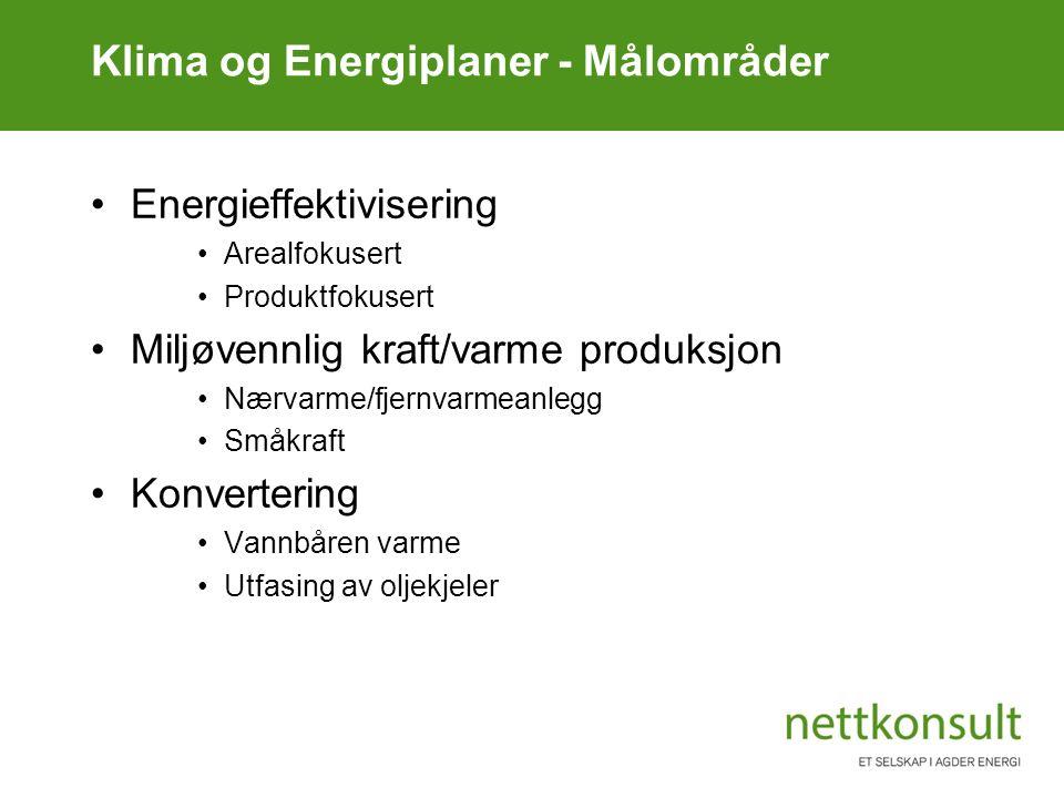 Klima og Energiplaner - Målområder Energieffektivisering Arealfokusert Produktfokusert Miljøvennlig kraft/varme produksjon Nærvarme/fjernvarmeanlegg S
