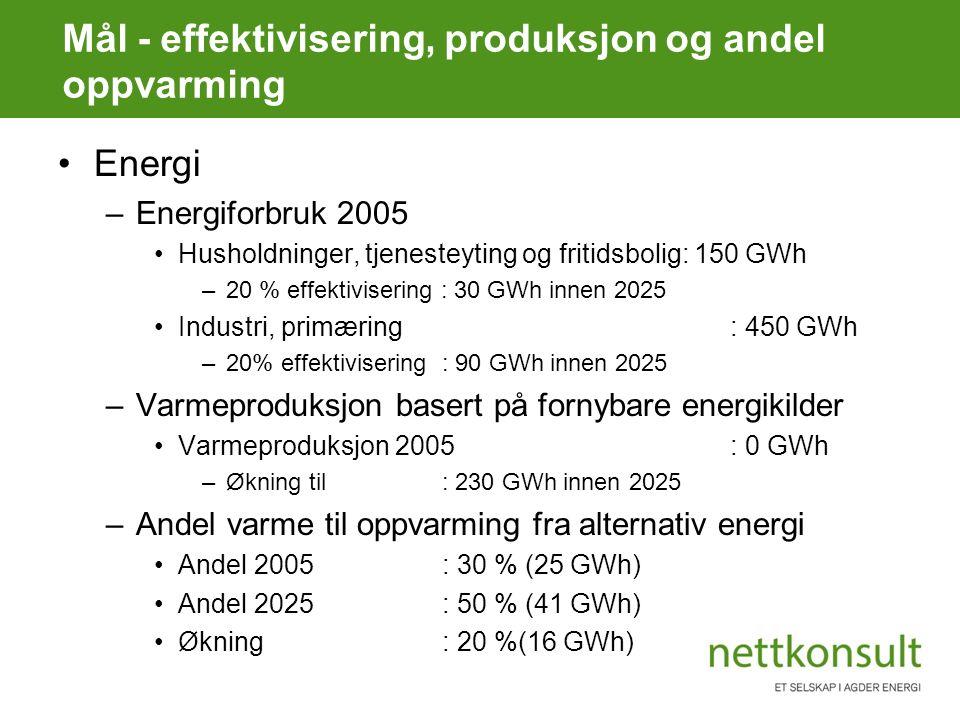 Mål - effektivisering, produksjon og andel oppvarming Energi –Energiforbruk 2005 Husholdninger, tjenesteyting og fritidsbolig: 150 GWh –20 % effektivisering : 30 GWh innen 2025 Industri, primæring: 450 GWh –20% effektivisering: 90 GWh innen 2025 –Varmeproduksjon basert på fornybare energikilder Varmeproduksjon 2005: 0 GWh –Økning til : 230 GWh innen 2025 –Andel varme til oppvarming fra alternativ energi Andel 2005: 30 % (25 GWh) Andel 2025: 50 % (41 GWh) Økning: 20 %(16 GWh)