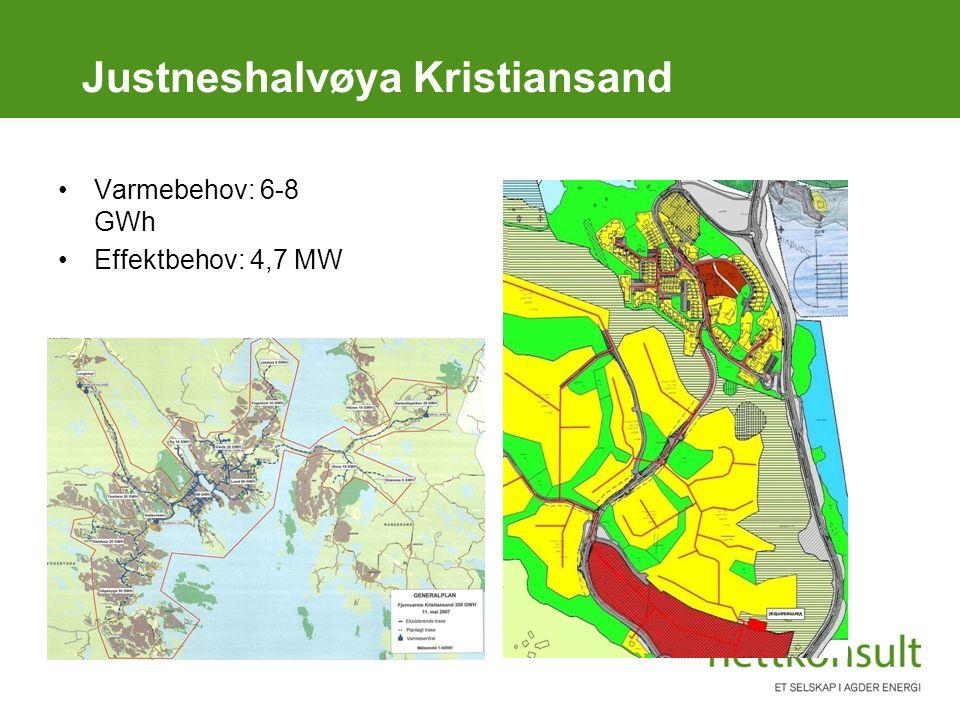 Justneshalvøya Kristiansand Varmebehov: 6-8 GWh Effektbehov: 4,7 MW