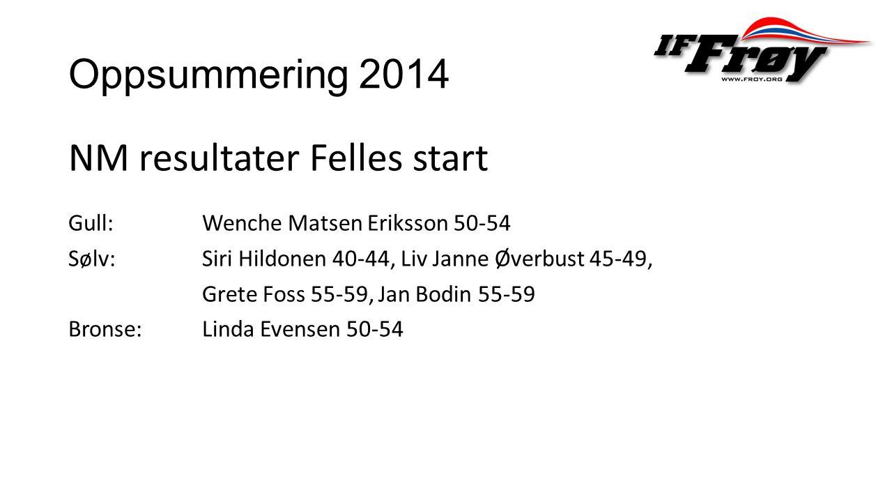 Oppsummering 2014 NM resultater Felles start Gull: Wenche Matsen Eriksson 50-54 Sølv: Siri Hildonen 40-44, Liv Janne Øverbust 45-49, Grete Foss 55-59, Jan Bodin 55-59 Bronse: Linda Evensen 50-54